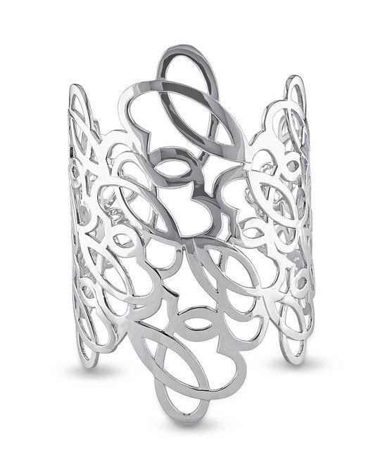 Julianna B - White Sterling Silver Cutout Cuff - Lyst