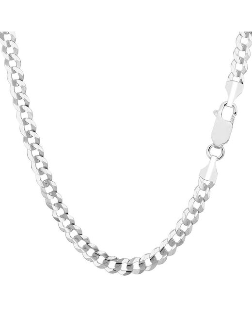 JewelryAffairs - 14k White Gold Comfort Curb Chain Necklace, 4.7mm, 22 Inch - Lyst