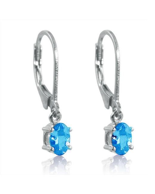 Amanda Rose Collection - Swiss Blue Topaz Leverback Earrings Set In Sterling Silver 1ct Tw - Lyst