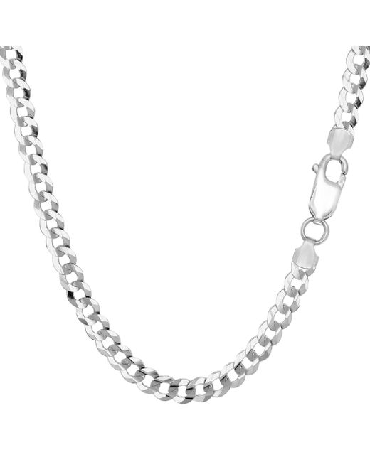 JewelryAffairs - Metallic Sterling Silver Rhodium Plated Curb Chain Necklace, 4.7mm, 24 Inch - Lyst