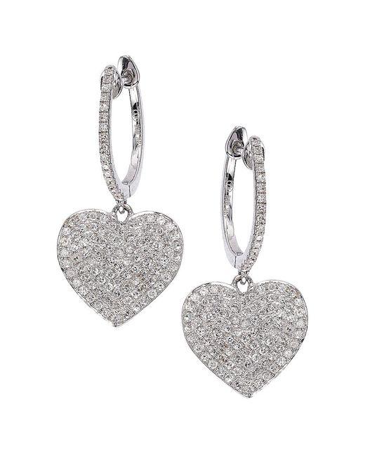 CR By Casa Reale | Metallic 14 K Gold White Diamond Heart Hoop Earrings | Lyst