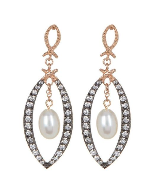 Adornia - Metallic Sterling Silver And Swarovski Crystal Open Marquis Earrings With Freshwater Pearl - Lyst