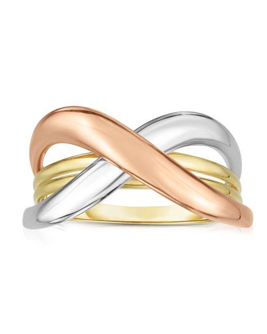 JewelryAffairs - Metallic 14k Tri Color Gold Shiny Fancy Womens Ring, Size 7 - Lyst