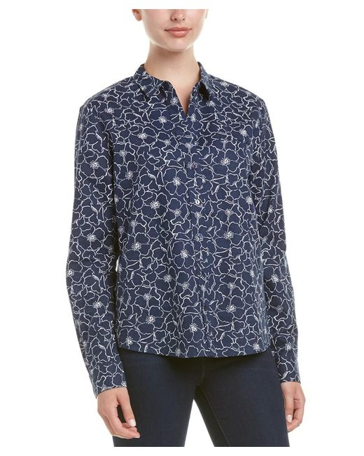 NYDJ - Blue Linen/cotton Shirt - Lyst