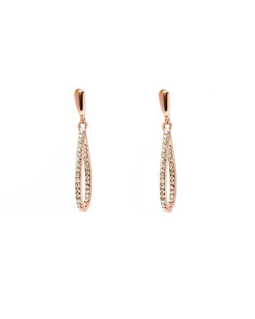 Peermont | Metallic Rose Gold And White Swarovski Elements Open Teardrop Earrings | Lyst