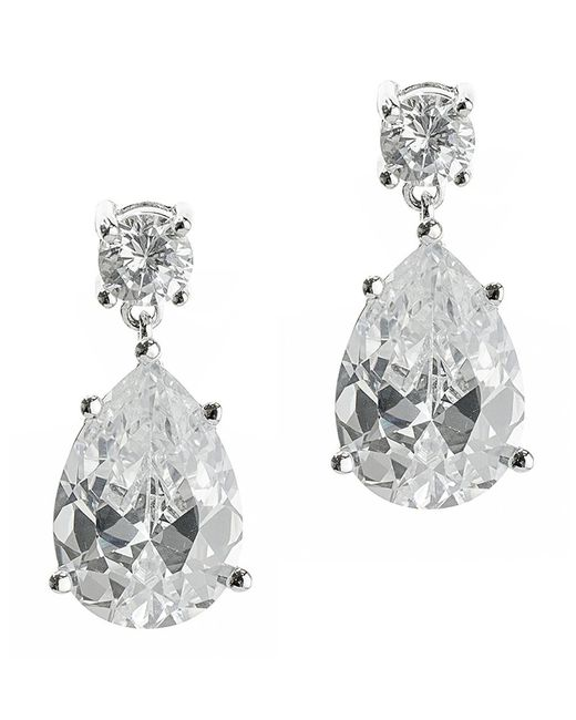 CZ by Kenneth Jay Lane | White 8cttw Round/pear Cz Ears | Lyst