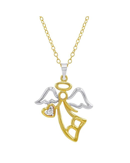 Amanda Rose Collection - Metallic Gold Flashed Sterling Silver Diamond Angel With Heart Pendant Necklace - Lyst