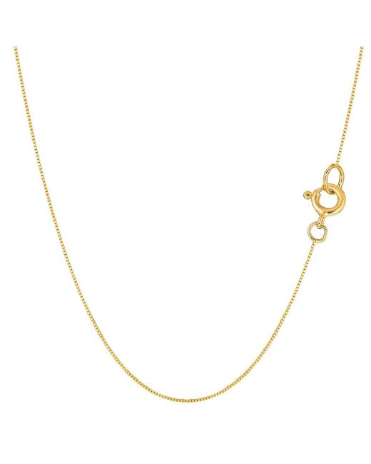 JewelryAffairs - 14k Yellow Gold Classic Mirror Box Chain Necklace, 0.45mm, 20 Inch - Lyst