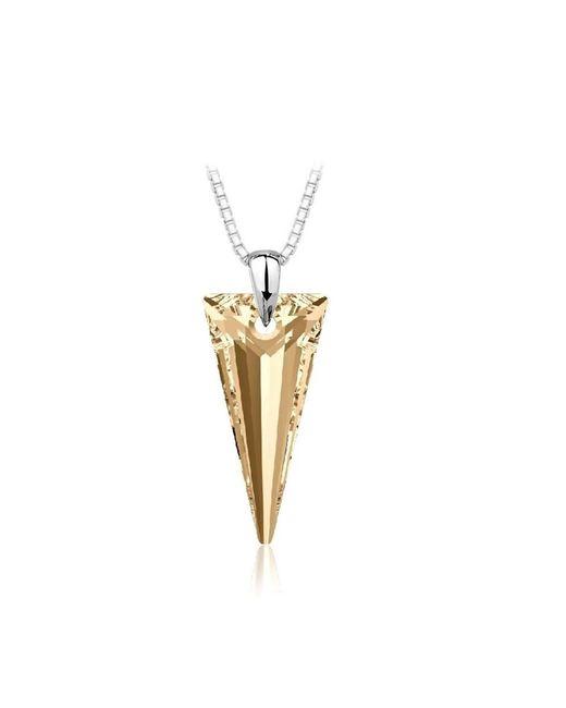 Barzel - Metallic Swarovski Golden Shade Spike Pendant In Sterling Silver - Lyst
