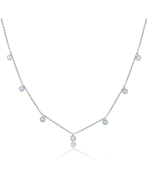 Peermont - Metallic 18k White Gold Plated & White Fire Opal Graduated Crown Charm Necklace - Lyst