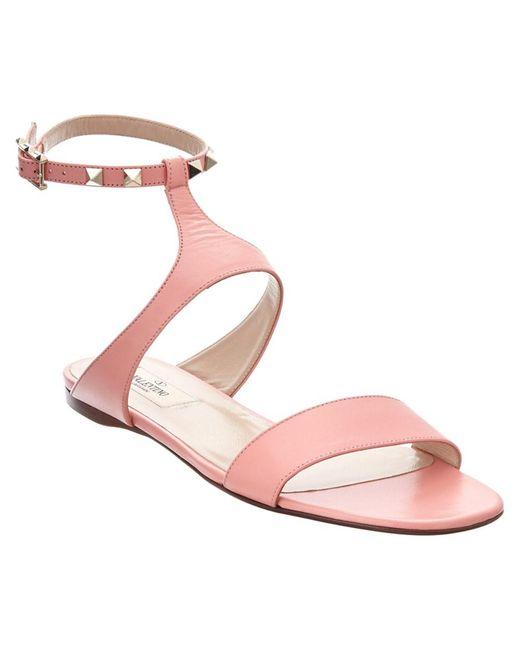 Valentino   Pink Rockstud Leather Sandal   Lyst