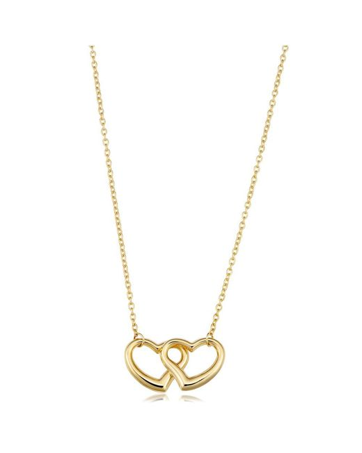 """JewelryAffairs - 14k Yellow Gold Double Heart Pendant On 17"""" Necklace - Lyst"""