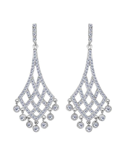 JewelryAffairs - White Sterling Silver And Cubic Zirconia Shaped Chandelier Drop Earrings - Lyst