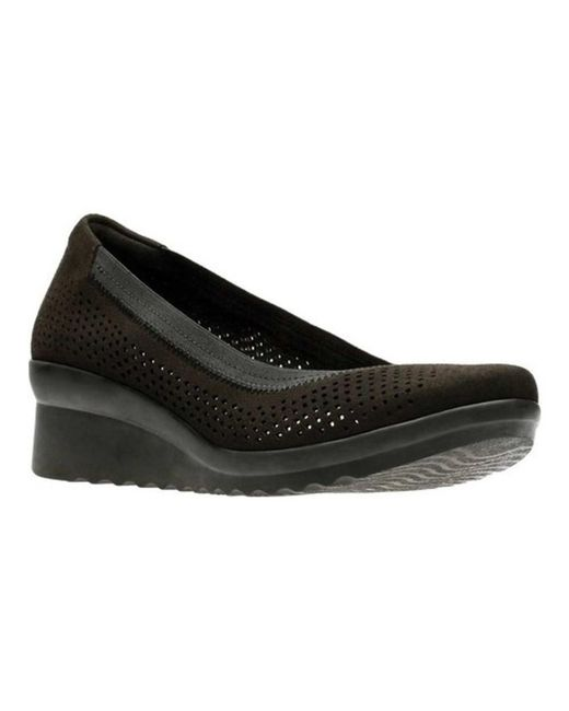 CLARKS Womens Caddell Dash Leather Closed Toe Wedge Black Textile Size 7.5