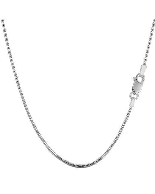 JewelryAffairs - White Sterling Silver Rhodium Plated Round Snake Chain Necklace, 1,2mm, 20 - Lyst