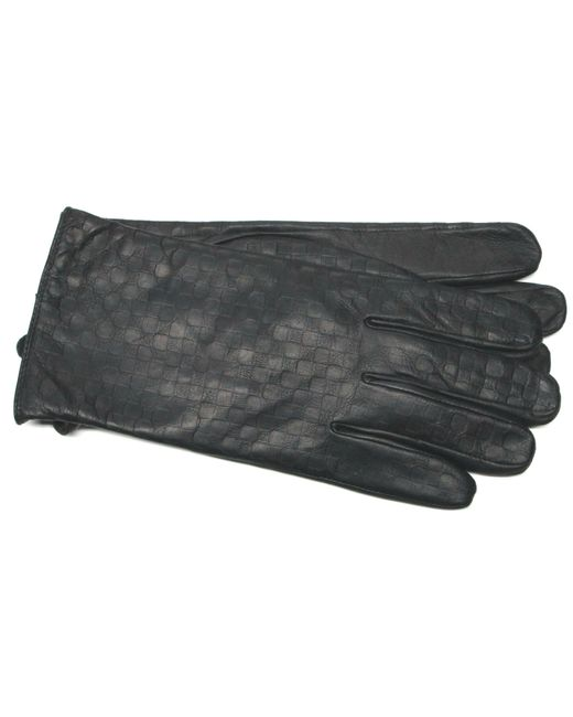 Ike Behar - Black Embossed Leather Touchscreen Gloves for Men - Lyst