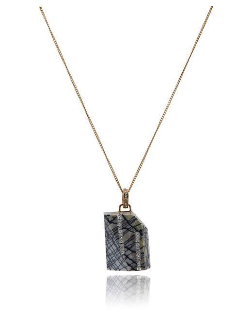 Roberto Cavalli - Metallic Grey Swarovski Embellished Stripe Marble Chain Necklace - Lyst