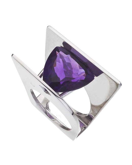 Jewelista - Purple Amethyst & Sterling Silver Ring - Lyst