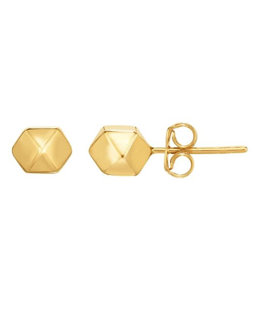 JewelryAffairs - 14k Gold Yellow Multi Pyramid And Hexagon Combo Design Stud Earrings - Lyst