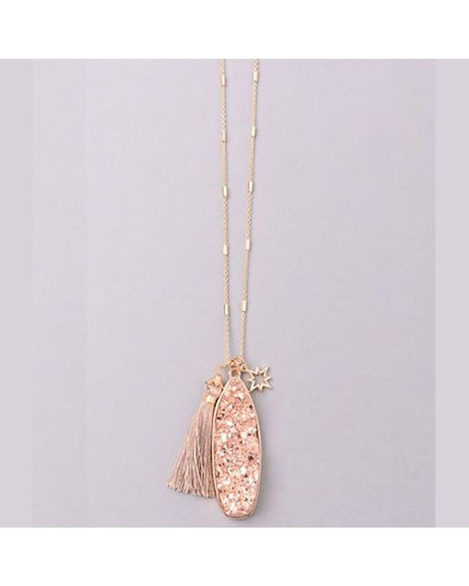 Bungalow 20 - Pink Druzy Pendant With Mini Tassel - Lyst