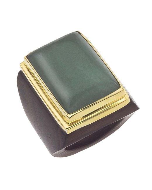 Jewelista | Green 18k Vermeil Aventurine Square Ring | Lyst