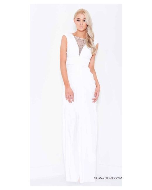 Lyst - Bariano Ariana Drape Gown With Beaded Detail in White