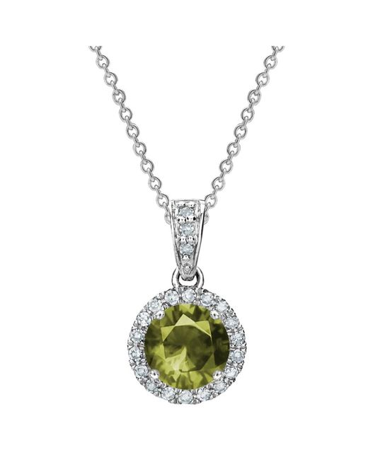Tia Collections - White 0.11ctw Diamond Halo Pendant With 5mm Peridot - Lyst