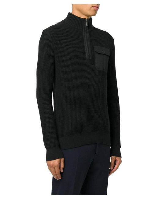 Michael kors Men's Black Cotton Sweater in Black for Men | Lyst