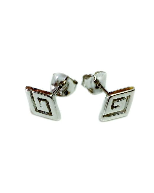 JewelryAffairs - Metallic Sterling Silver Rhodium Plated Ancient Greek Key Stud Earrings - Lyst