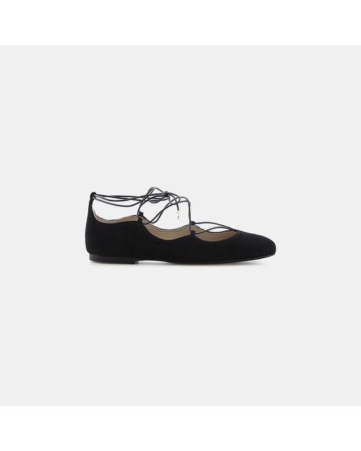 Sam Edelman | Black Flynt Suede Lace-up Ballet Flat | Lyst