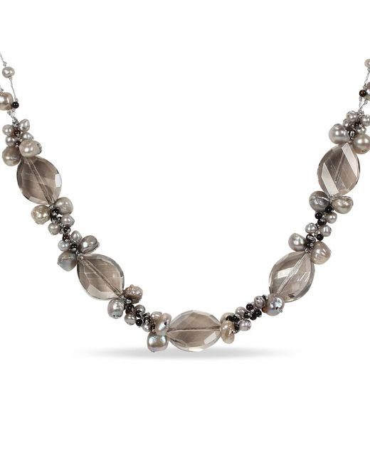 Catherine Malandrino - Brown Grey Freshwater Cultured Pearl, Grey Glass Cluster, And Black Agate Necklace - Lyst