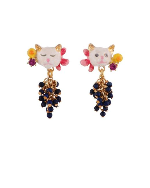 Les Nereides | Blue Little Cats Faces And Bunch Of Beads Earrings | Lyst