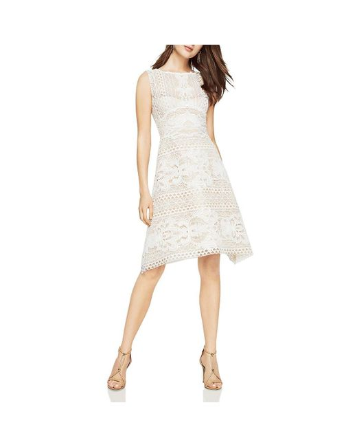 d487385fbf0 BCBGMAXAZRIA - White Bcbg Max Azria Womens Kira Lace Illusion Cocktail Dress  - Lyst ...