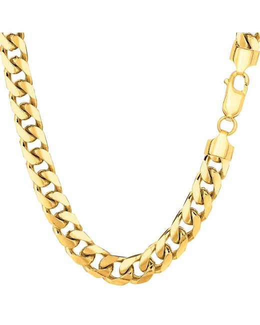 JewelryAffairs | 14k Yellow Gold Miami Cuban Link Chain Necklace - Width 6.9mm, 22 Inch for Men | Lyst