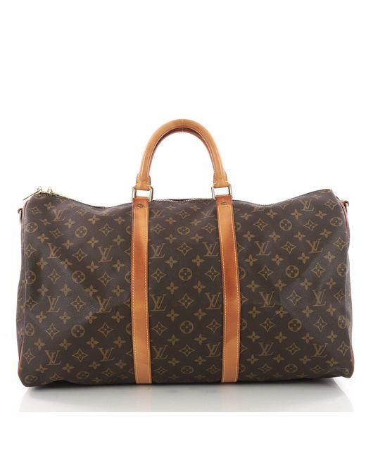 Louis Vuitton - Brown Pre Owned Keepall Bandouliere Bag Monogram Canvas 50  - Lyst ... 4a90d12b4b1b9