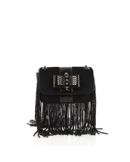 Christian Louboutin - Black Pre Owned Fringe Sweet Charity Crossbody Bag Pony Hair Mini - Lyst