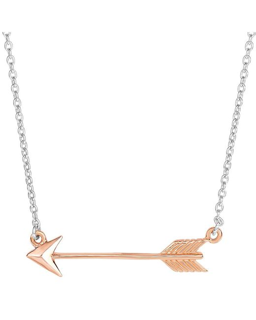 JewelryAffairs - White Sterling Silver Sideways Rose Tone Finish Arrow Pendant Chain Necklace, 18 - Lyst