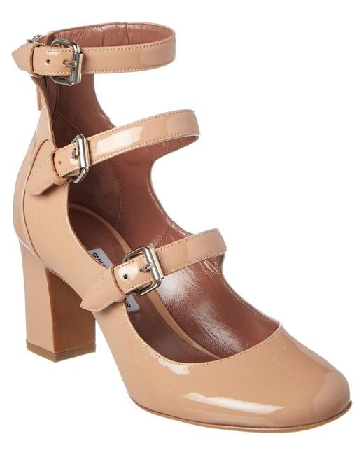 Tabitha Simmons - Brown Ginger Patent Three-strap Pump - Lyst