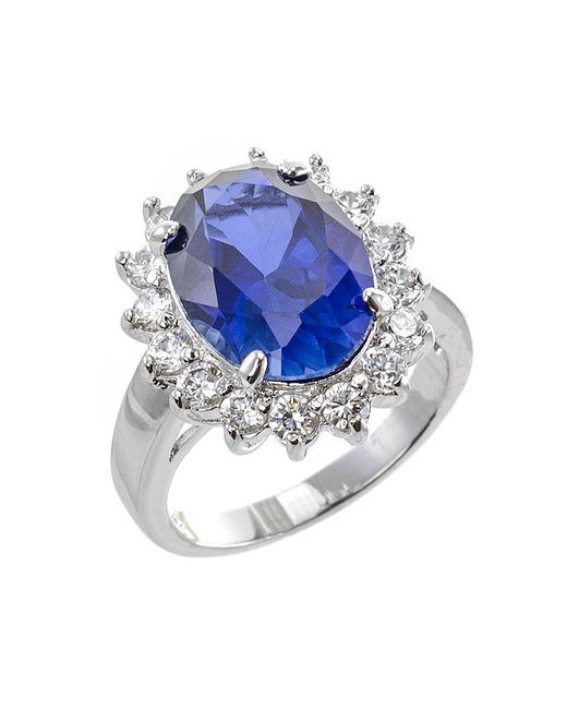 CZ by Kenneth Jay Lane | Metallic 12cttw Oval Cz Ring With Pave Border | Lyst