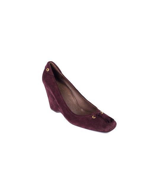 Car Shoe - Purple Womens Burgundy Fringe Tie Suede Wedge Heels - Lyst