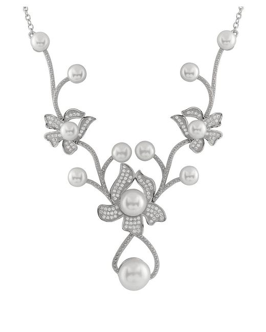 Splendid - White Flower Shaped Cz Pearl Masterpiece Necklace - Lyst