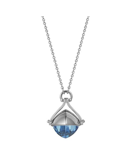 Jewelista - Pyramid Cabochon Blue Topaz With 28-inch Necklace - Lyst