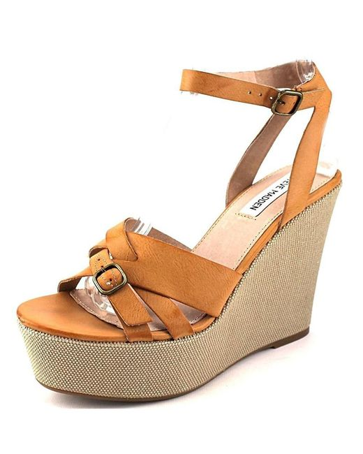 Steve Madden - Brown Twizter Synthetic Wedge Sandal - Lyst