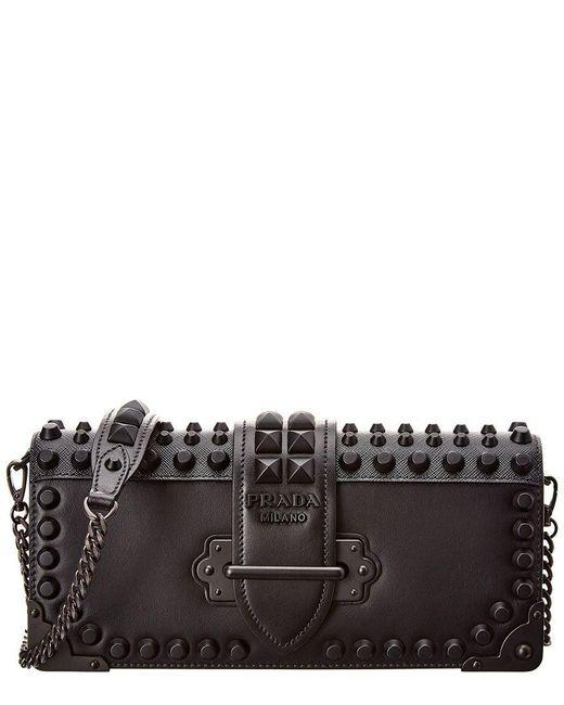 e687c578dba9b7 Prada - Black Studded Cahier Leather Shoulder Bag - Lyst ...