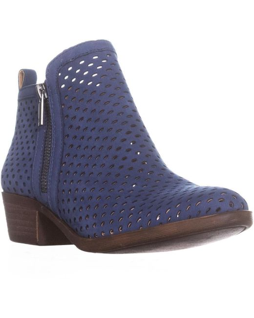Lucky Brand - Blue Lucky Basel3 Perforated Ankle Boots, Dark Chambray - Lyst