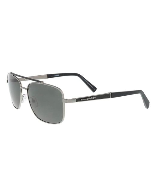Ermenegildo Zegna | Metallic Ez 0036 12d Silver/black Square Sunglasses for Men | Lyst