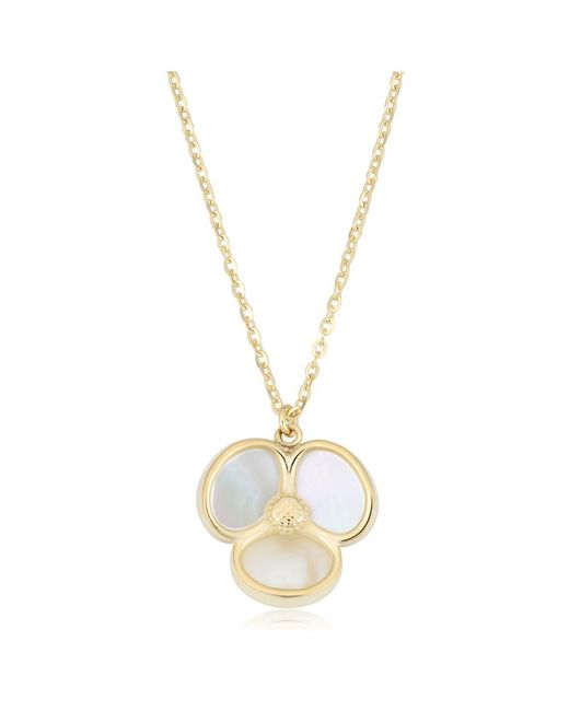 JewelryAffairs - 14k Yellow Gold Mother Of Pearl Flower Pendant Necklace, 18 - Lyst