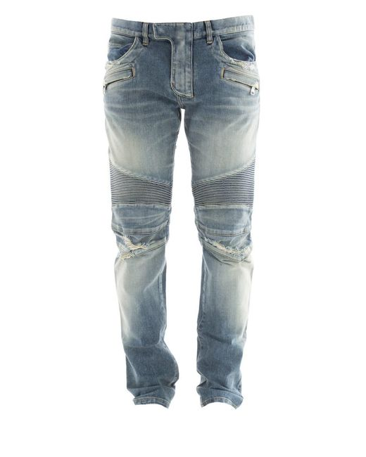 Balmain - Men's Light Blue Cotton Jeans for Men - Lyst