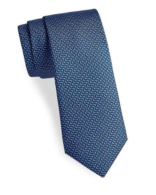 Saks Fifth Avenue - Blue Made In Italy Zig-zag Silk Tie for Men - Lyst