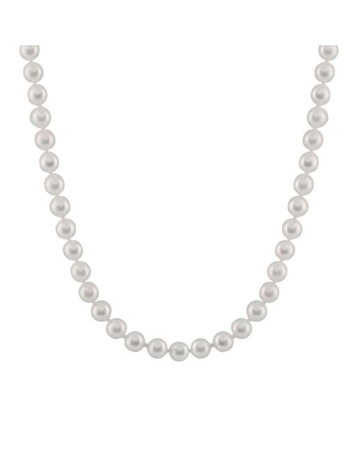 """Splendid - Metallic A Beutiful6-6.5mm Cultured Akoya Pearl Necklace, 18"""", Individually Hand Knotted, 14k Yellow Gold Fish Hook - Lyst"""